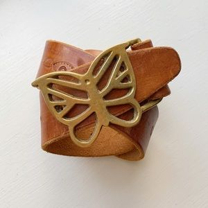 Accessories - Vintage 70s Boho Leather Belt Butterly Buckle